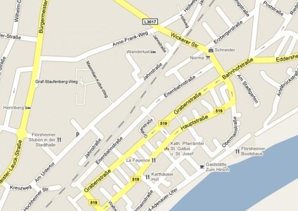 Altstadt und ehemaliges Axthelm-Gelände. Quelle: Screenshot aus Google-Maps