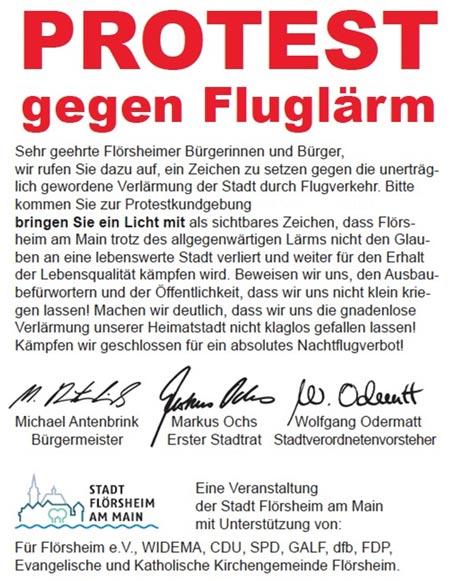 Gemeinsamer Protest gegen den Fluglärm