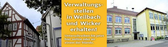 Ortsvorsteher von Weilbach und Wicker: Verwaltungsstellen sind unverzichtbar