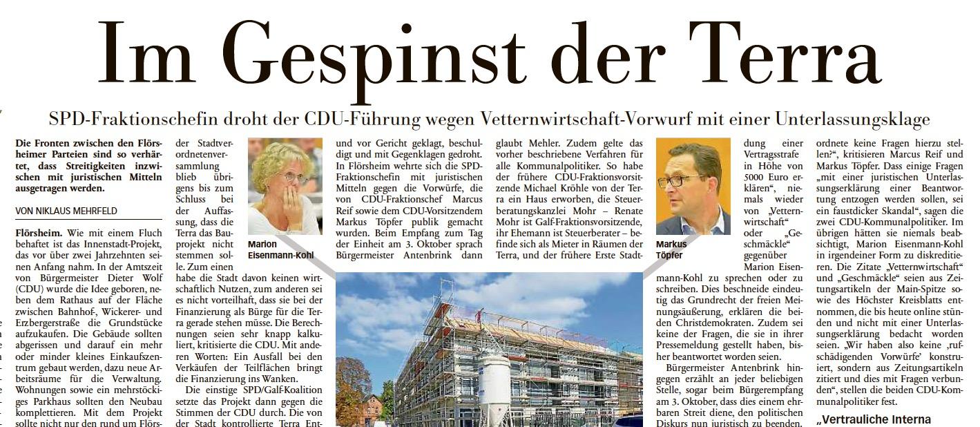 """Höchster Kreisblatt: """"SPD-Fraktionschefin droht CDU-Führung mit Unterlassungsklage"""""""
