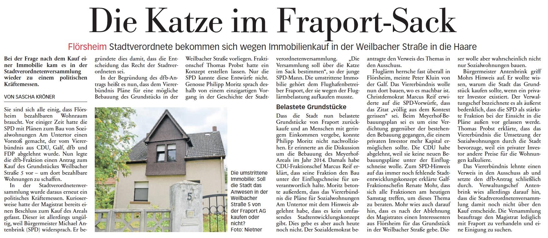 Höchster Kreisblatt: Immobilienkauf in der Weilbacher Straße