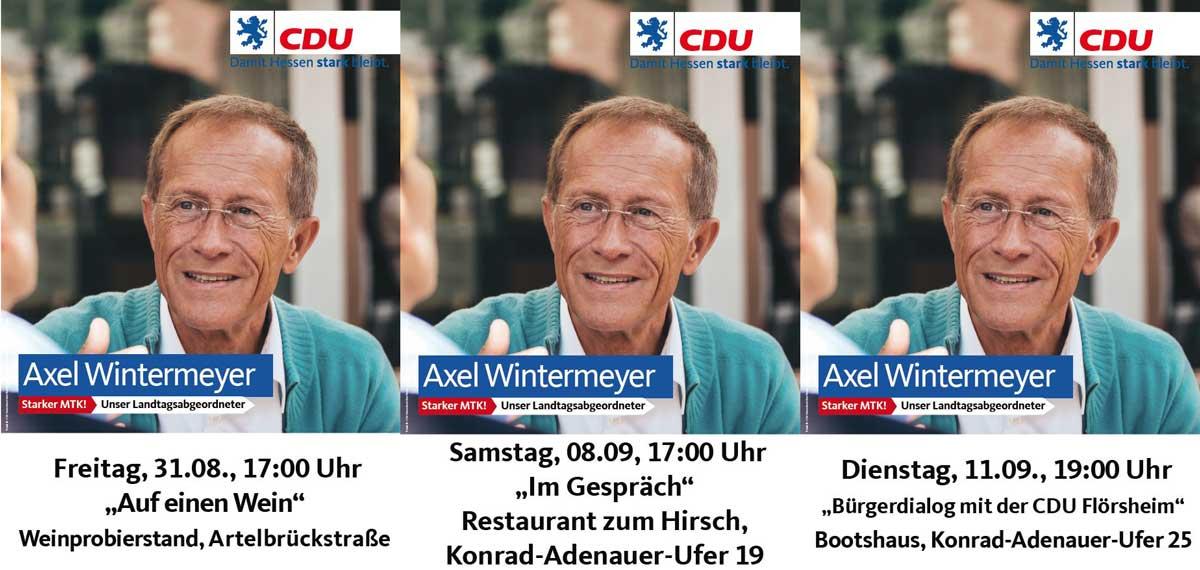 Axel Wintermeyer in Flörsheim zu Gesprächen, Bürgerdialog und auf einen Wein