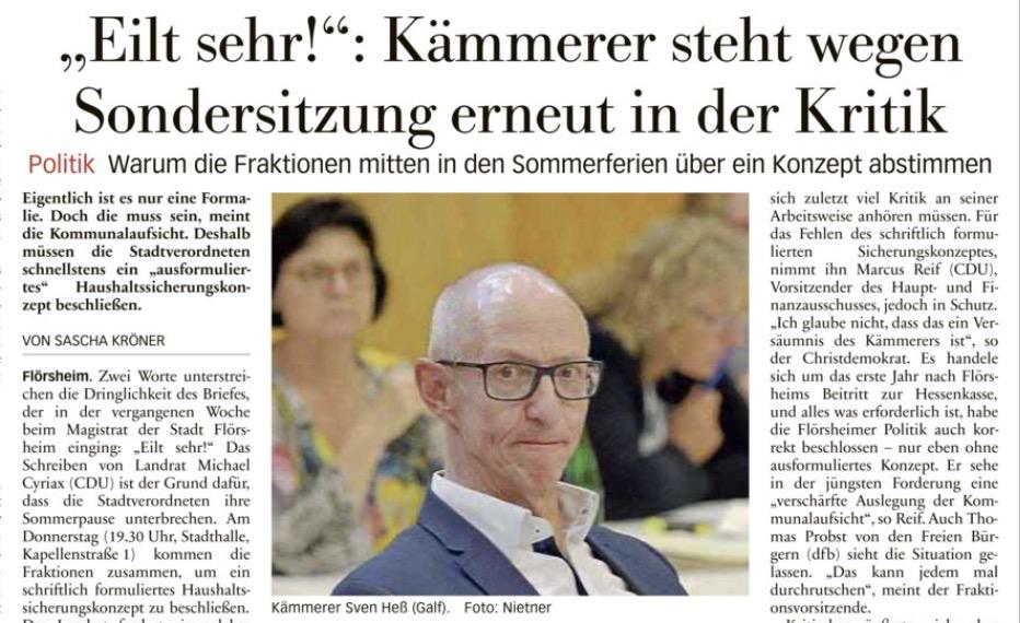 Höchster Kreisblatt: Sondersitzung der Stadtverordnetenversammlung