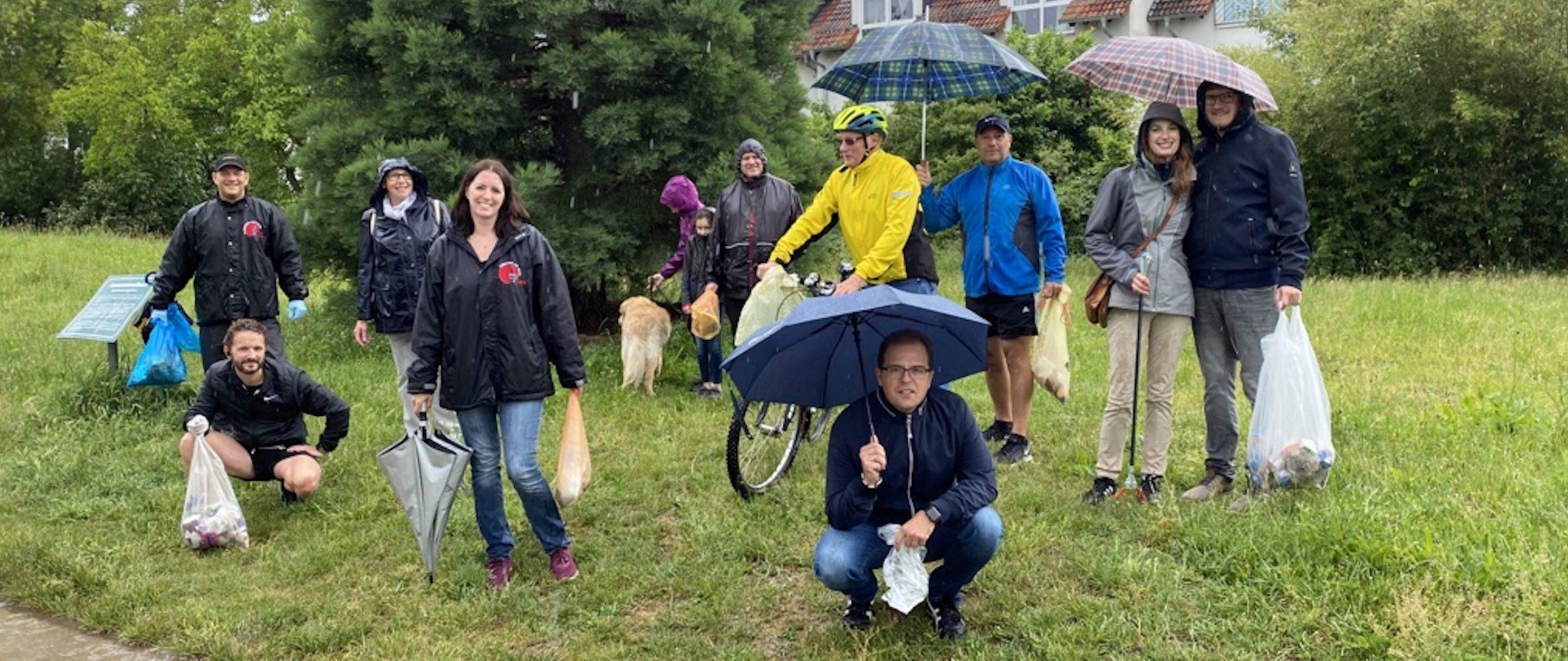 Plogging der CDU Flörsheim trotz Regen ein voller Erfolg