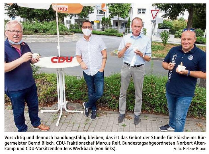 CDU-Bundestagsabgeordneter Norbert Altenkamp lädt Flörsheimer Bürger auf ein Eis ein
