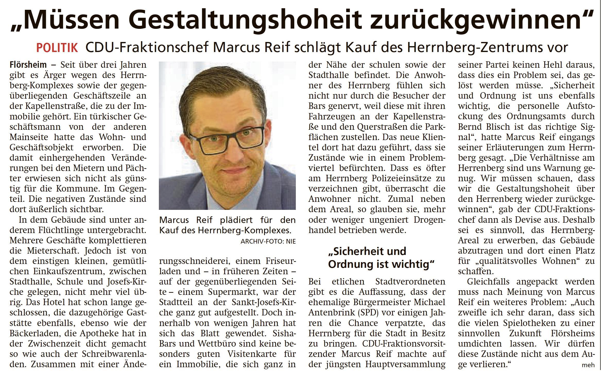 """Flörsheimer Herrenberg: """"Müssen Gestaltungshoheit zurückgewinnen"""""""