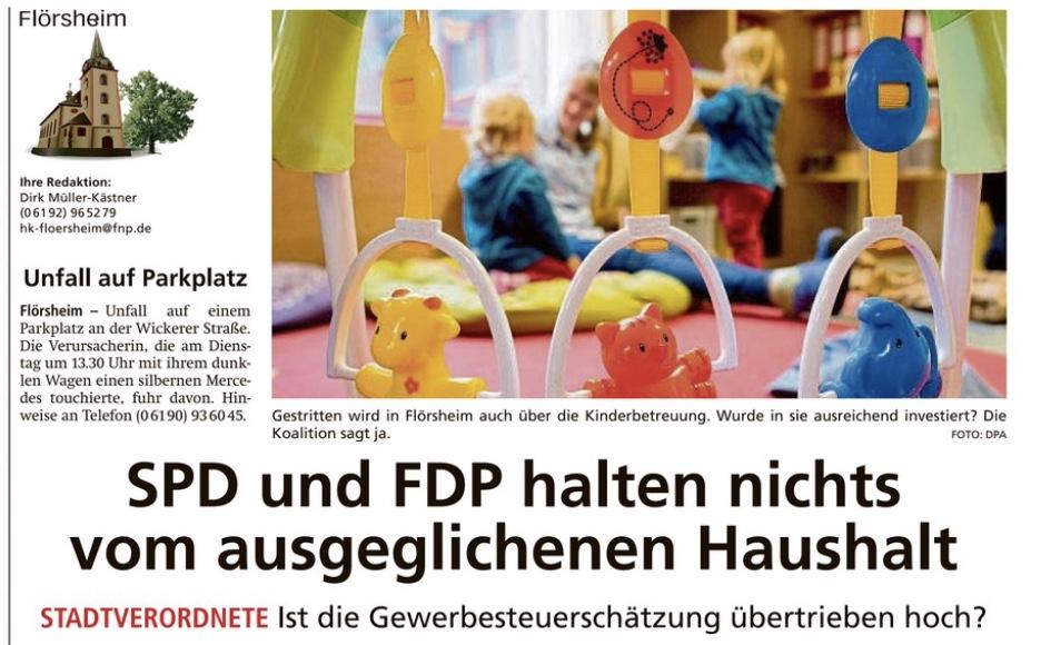 """Höchster Kreisblatt: """"SPD und FDP halten nichts vom ausgeglichenen Haushalt"""""""