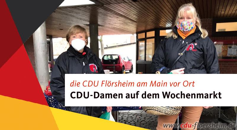 CDU-Damen gemeinsam auf dem Wochenmarkt