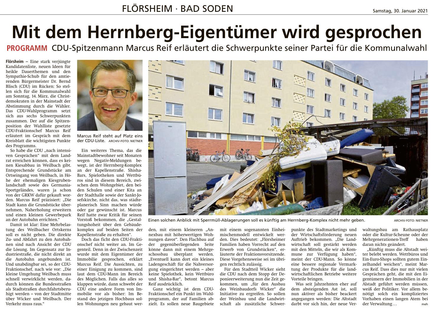 Höchster Kreisblatt: CDU-Spitzenmann Marcus Reif erläutert die Schwerpunkte seiner Partei für die Kommunalwahl