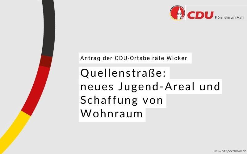 CDU-Ortsbeirat Wicker für neues Jugend-Areal und Schaffung von Wohnraum