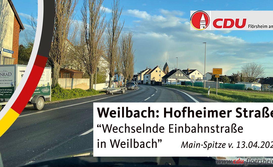 Main-Spitze: Wechselnde Einbahnstraße in Weilbach
