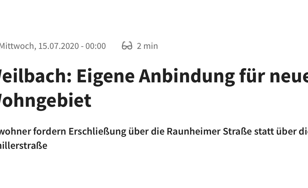 Weilbach: Eigene Anbindung für neues Wohngebiet