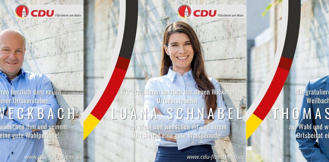 Gratulation an drei gewählte CDU-Ortsvorsteher in Stadtmitte, Weilbach und Wicker