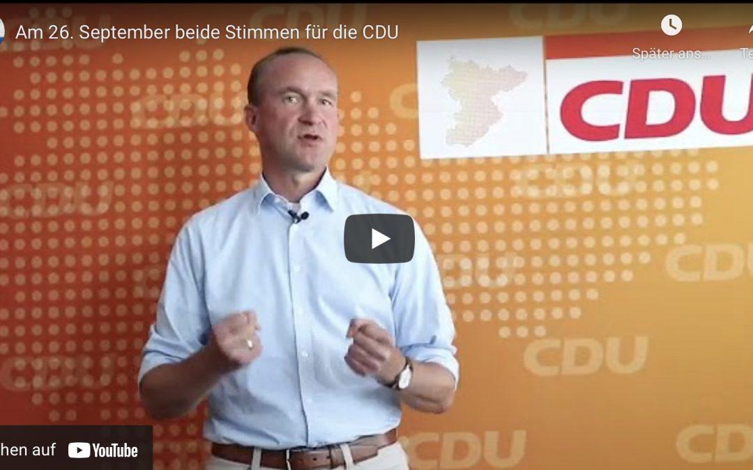Am 26. September ist Bundestagswahl. Beide Stimmen für die CDU